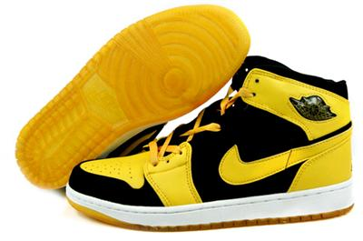 Retro Air Jordan 1 Shoes black yellow